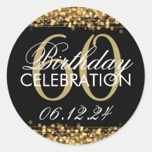 Elegant 60th Birthday Party Sparkles Gold Round Sticker