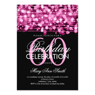 Elegant 60th Birthday Party Sparkles Pink Card