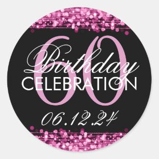 Elegant 60th Birthday Party Sparkles Pink Classic Round Sticker