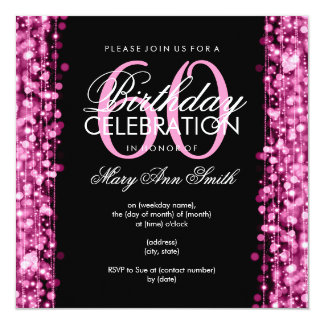 Elegant 60th Birthday Party Sparkles Pink 5.25x5.25 Square Paper Invitation Card
