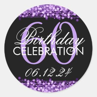 Elegant 60th Birthday Party Sparkles Purple Classic Round Sticker