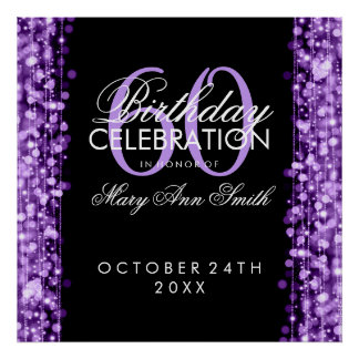 Elegant 60th Birthday Party Sparkles Purple Poster