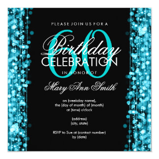 Elegant 60th Birthday Party Sparkles Turquoise 5.25x5.25 Square Paper Invitation Card