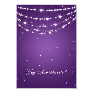 Elegant 60th Birthday Party Sparkling Chain Purple Custom Invites