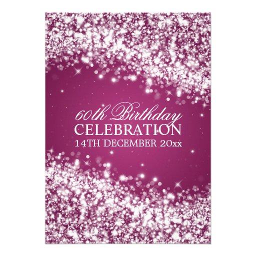 Elegant 60th Birthday Party Sparkling Wave Berry Invitations