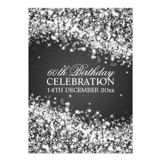 Elegant 60th Birthday Party Sparkling Wave Black Invite