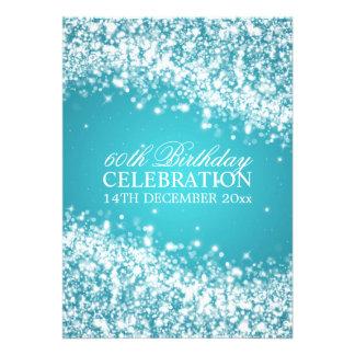 Elegant 60th Birthday Party Sparkling Wave Blue Custom Invites