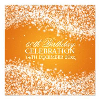 Elegant 60th Birthday Party Sparkling Wave Orange Personalized Invites