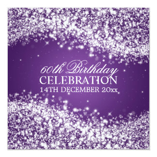 Elegant 60th Birthday Party Sparkling Wave Purple Personalized Announcements