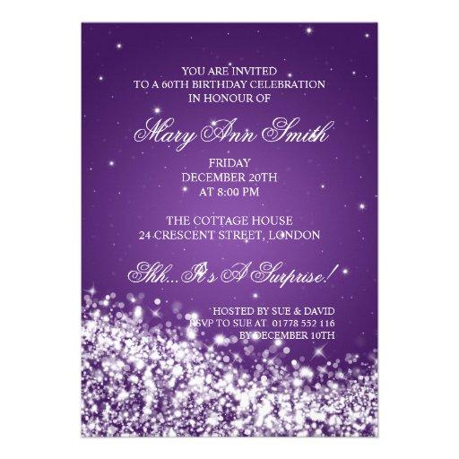 Elegant 60th Birthday Party Sparkling Wave Purple Custom Invites (back side)