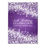 Elegant 60th Birthday Party Sparkling Wave Purple Custom Invites