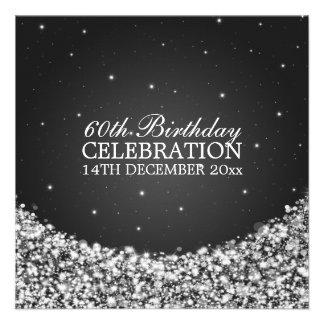 Elegant 60th Birthday Party Star Sparkle Black Invitation