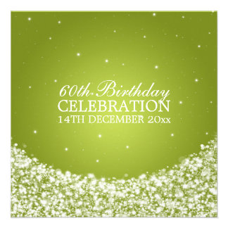 Elegant 60th Birthday Party Star Sparkle Lime Invitation