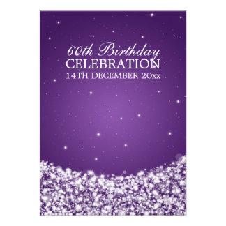 Elegant 60th Birthday Party Star Sparkle Purple Personalized Invites