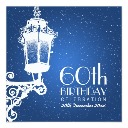 "Elegant 60th Birthday Party Vintage Lamp Blue 5.25"" Square Invitation"