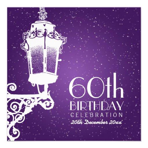 Elegant 60th Birthday Party Vintage Lamp Purple Custom Invite