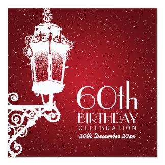Elegant 60th Birthday Party Vintage Lamp Red Card