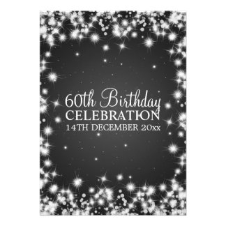 Elegant 60th Birthday Party Winter Sparkle Black Custom Invitation