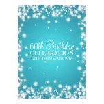 Elegant 60th Birthday Party Winter Sparkle Blue 5x7 Paper Invitation Card