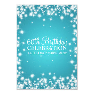 Elegant 60th Birthday Party Winter Sparkle Blue Card