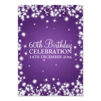 Elegant 60th Birthday Party Winter Sparkle Purple Card