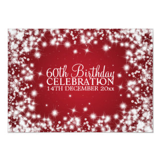 Elegant 60th Birthday Party Winter Sparkle Red Card