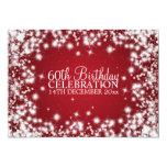 Elegant 60th Birthday Party Winter Sparkle Red Invitation