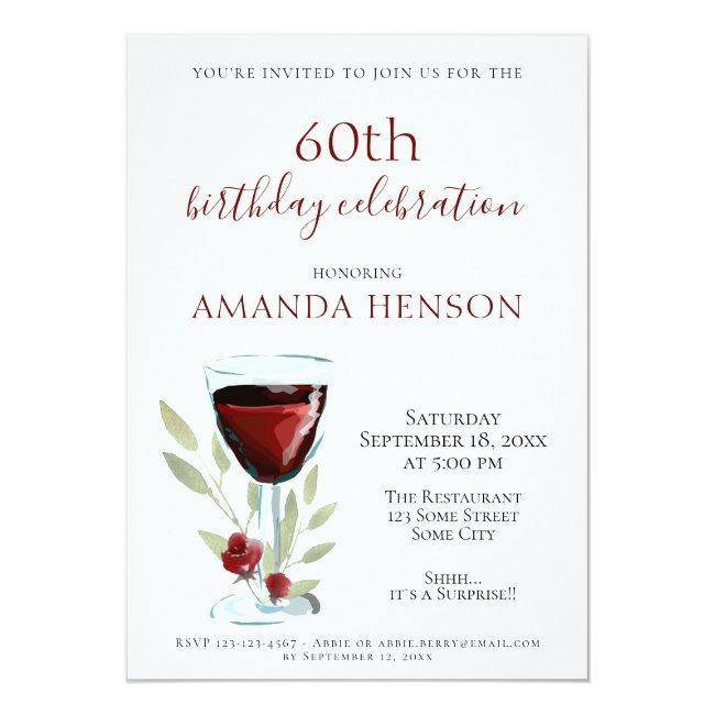 Elegant 60th Birthday Red Wine Surprise Party Invitation