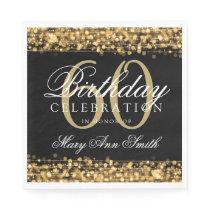 Elegant 60th Birthday Silver Bokeh Sparkle Lights Napkin