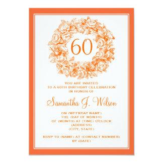 Elegant 60th Birthday Vintage Roses Orange Card