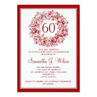 Elegant 60th Birthday Vintage Roses Red 5x7 Paper Invitation Card