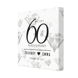 Elegant 60th Diamond Wedding Anniversary Canvas Print