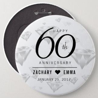 Elegant 60th Diamond Wedding Anniversary Pinback Button