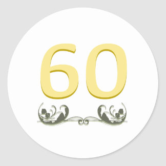 Elegant 60th Gift Classic Round Sticker