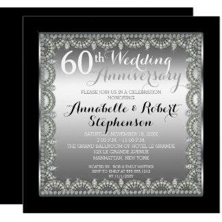 Elegant 60th Silver and Diamonds Anniversary Card