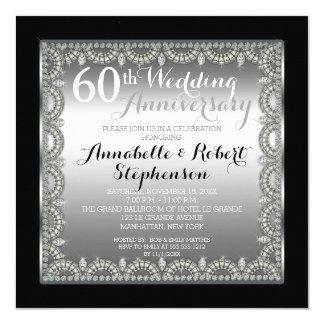 Elegant 60th Silver and Diamonds Anniversary 5.25x5.25 Square Paper Invitation Card