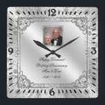"Elegant 60th Wedding Anniversary Photo Clock<br><div class=""desc"">A Digitalbcon Images Design featuring a platinum silver color and flourish design theme with a variety of custom images, shapes, patterns, styles and fonts in this one-of-a-kind &quot;Elegant 60th Wedding Anniversary&quot; Photo Clock. This attractive and elegant design comes complete with customizable text lettering, anniversary design elements and photo to suit...</div>"