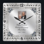 """Elegant 60th Wedding Anniversary Photo Clock<br><div class=""""desc"""">A Digitalbcon Images Design featuring a platinum silver color and flourish design theme with a variety of custom images, shapes, patterns, styles and fonts in this one-of-a-kind &quot;Elegant 60th Wedding Anniversary&quot; Photo Clock. This attractive and elegant design comes complete with customizable text lettering, anniversary design elements and photo to suit...</div>"""