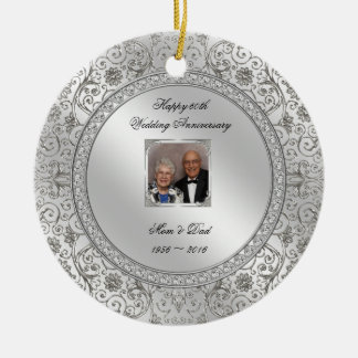Elegant 60th Wedding Anniversary Photo Ornament