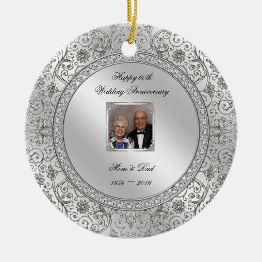 Elegant 60th Wedding Anniversary Photo Ornament Zazzle