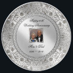 "Elegant 60th Wedding Anniversary Porcelain Plate<br><div class=""desc"">A Digitalbcon Images Design featuring a platinum silver color and flourish design theme with a variety of custom images, shapes, patterns, styles and fonts in this one-of-a-kind &quot;Elegant Diamond Wedding Anniversary&quot; Photo Porcelain Plate. This elegant and attractive design comes complete with customizable text lettering and photo insert to suit your...</div>"