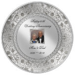 Elegant 60th Wedding Anniversary Porcelain Plate<br><div class='desc'>A Digitalbcon Images Design featuring a platinum silver color and flourish design theme with a variety of custom images, shapes, patterns, styles and fonts in this one-of-a-kind &quot;Elegant Diamond Wedding Anniversary&quot; Photo Porcelain Plate. This elegant and attractive design comes complete with customizable text lettering and photo insert to suit your...</div>