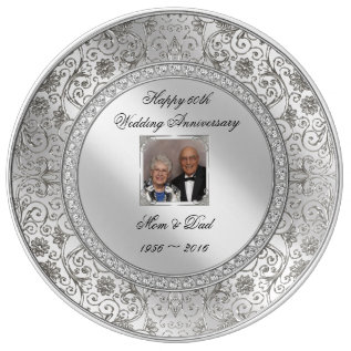 Elegant 60th Wedding Anniversary Porcelain Plate at Zazzle