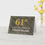 [ Thumbnail: Elegant 61st Birthday: Faux Wood, Faux Gold Look Card ]