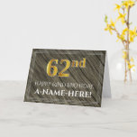 [ Thumbnail: Elegant 62nd Birthday: Faux Wood, Faux Gold Look Card ]
