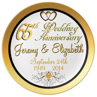 Elegant 65th Anniversary Porcelain Plate
