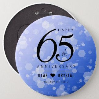 Elegant 65th Blue Sapphire Wedding Anniversary Button