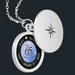 """Elegant 65th Blue Sapphire Wedding Anniversary Locket Necklace<br><div class=""""desc"""">Celebrate the 65th wedding anniversary in style with this commemorative locket! Elegant black and white lettering with hexagonal confetti on a sapphire blue background add a memorable touch for this special occasion and extraordinary milestone. Customize with the happy couple's names, and add dates for their blue sapphire anniversary. Design ©...</div>"""
