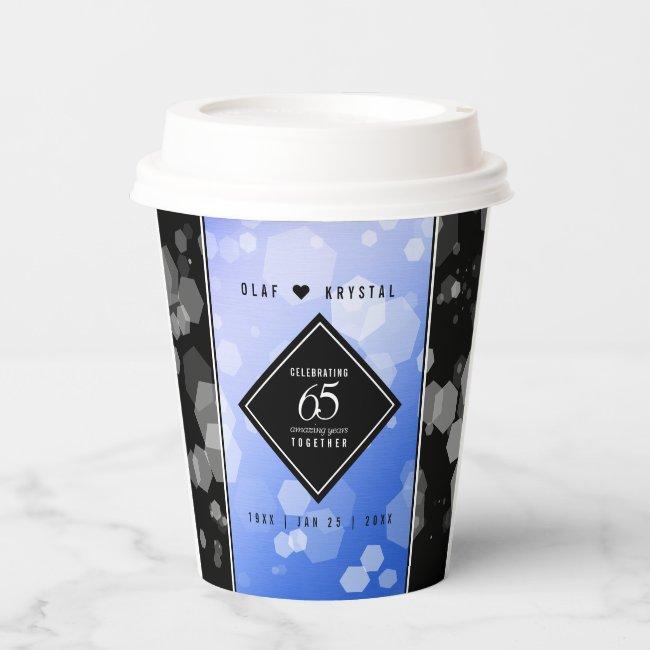 Elegant 65th Blue Sapphire Wedding Anniversary Paper Cups