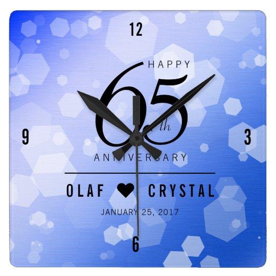 Elegant 65th Blue Sapphire Wedding Anniversary Square Wall Clock